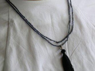 4wayアンティークビーズネックレスブラックの画像