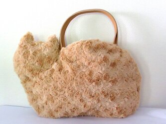 ネコバッグ*ふわふわファー茶猫の画像
