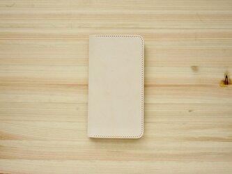 牛革 iPhone8Plus/7Plusカバー  ヌメ革 レザーケース  手帳型  ナチュラルカラーの画像