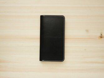 牛革 iPhone8Plus/7plus ヌメ革 レザーケース カバー    手帳型  ブラックカラーの画像