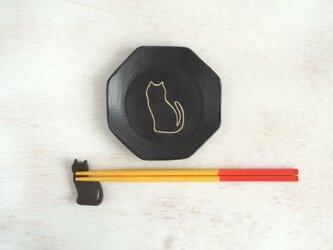 ネコの八角皿の画像