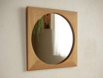 木製 鏡「しかくに◯」楡(ニレ)材1 ミラーの画像