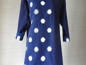 手織り久留米絣:水玉のチュニック・プラウス(W-25)の画像