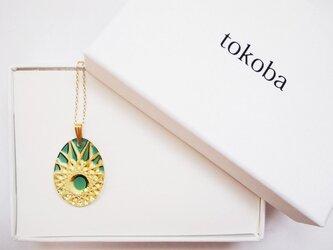 tokoba クリスタルネックレス AD-spider web (green)の画像
