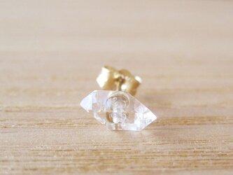 ダイヤモンドクォーツの原石ピアス/Pakistan/片耳 14KGFの画像