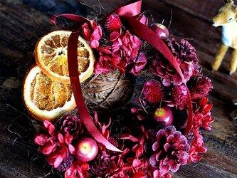 【定形外可】真紅のリース ドライオレンジとアジサイ・木の実 ギフト プレゼント カフェインテリアの画像