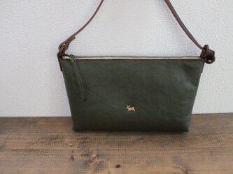 栃木レザー 本革手縫いmini pochette (green)の画像
