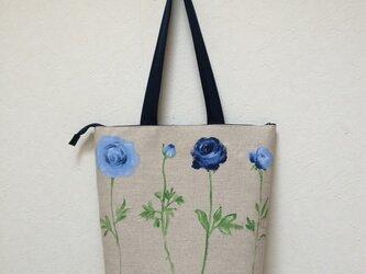 Blue roseリネン ファスナー付バッグの画像