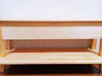 キッズチェア 収納付きベンチ 足置き・棚付きの画像
