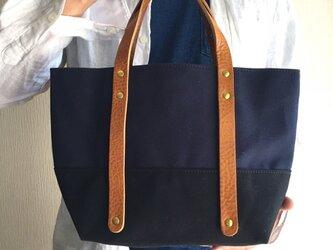 6号帆布と極厚オイルヌメのトートバッグ S-size【ネイビー×ブラック】の画像