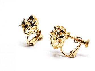 金色のまめひよこイヤリングSV925【Pio by Parakee】gold little chick earringの画像