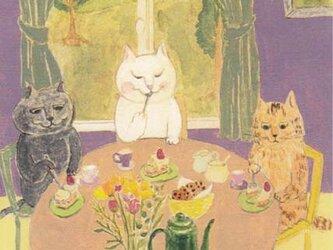 カマノレイコ オリジナル猫ポストカード「おやつのじかん」2枚セットの画像
