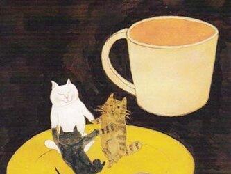 カマノレイコ オリジナル猫ポストカード「ソーサー・ダンス」2枚セットの画像