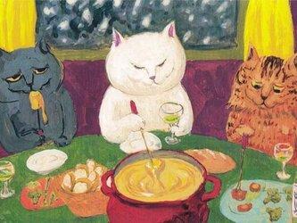 カマノレイコ オリジナル猫ポストカード「チーズフォンデュ」2枚セットの画像