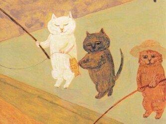 値下げ・カマノレイコ オリジナル猫ポストカード「魚釣り」3枚セットの画像