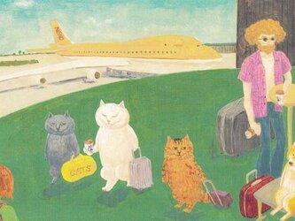 カマノレイコ オリジナル猫ポストカード「空港にて」2枚セットの画像