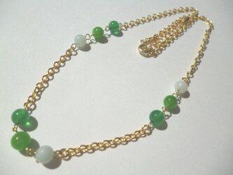 【SALE】グリーンアゲート・アマゾナイト・カルセドニーのネックレスの画像