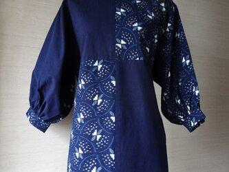 手織り久留米絣:蝶の膨ら袖のチュニック・プラウス(W-33)の画像