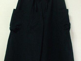 ガウチョパンツ M~LLサイズ 黒 綿100% 受注生産一週間待ちの画像