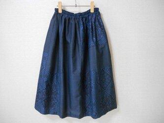 再販★藍大島リメイクスカート★同系色パッチワークの画像
