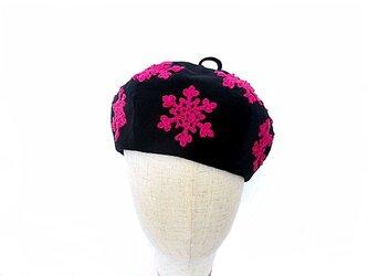 スノークリスタルベレー(黒×ピンク)の画像