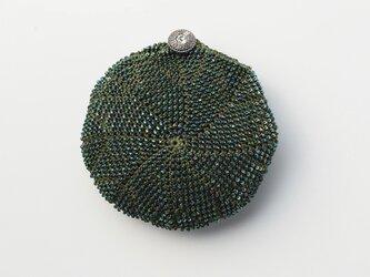 収納できるネットバッグ シルクレース糸ビーズ編み込み モスグリーンの画像
