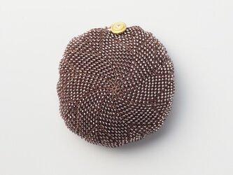 収納できるネットバッグ シルクレース糸ビーズ編み込み マロンブラウンの画像