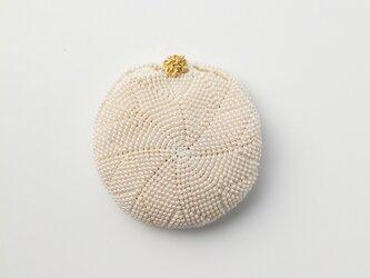 収納できるネットバッグ シルクレース糸ビーズ編み込み パールの画像