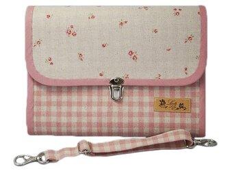 母子手帳ケース L ジャバラタイプ 小花柄 ピンク (A5サイズの母子手帳に対応) ☆2人分収納可能☆の画像