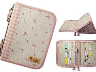 母子手帳ケース L Wファスナータイプ 小花柄 ピンク (A5サイズの母子手帳に対応) ☆4人分収納可能☆の画像