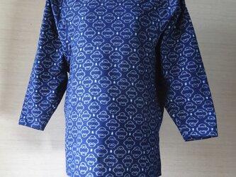手織り久留米絣:ドルマン・スリーブのチュニック・プラウス(W-10)の画像