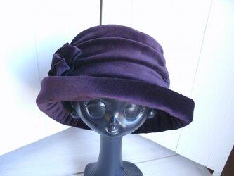 パープルカラーのベルベットの帽子 J様オーダーの画像