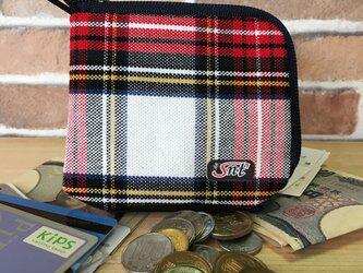 オシャレで機能的!旅に便利な、カード・お札・コイン用 先染め帆布財布 赤系格子の画像