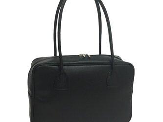 人気のスクエアボストン オール牛革 本革バッグ 軽量 リアル シュリンクレザー ブラックの画像