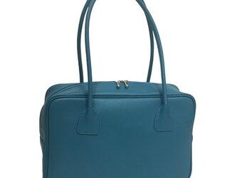 人気のスクエアボストン オール牛革 本革バッグ 軽量 リアル シュリンクレザー ライトブルーの画像