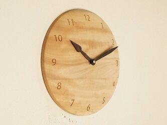 木製 掛け時計 丸 栃(トチ)材8の画像