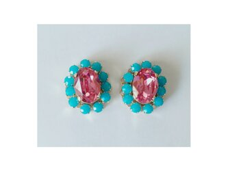 new pink & turquoise earringsの画像
