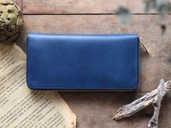 藍染革[migaki] ×オイルレザー ラウンドファスナー長財布の画像