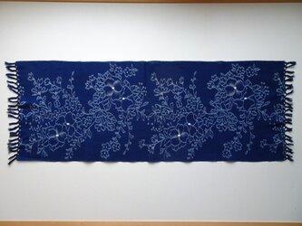 手織り久留米絣:椿のテーブルセンター(T-9)の画像