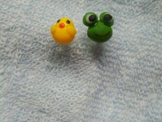 ヒヨコとカエルのピアス(オーダー品)の画像