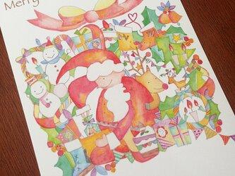 【クリスマスカード/5枚セット】大きなクリスマスプレゼント!の画像
