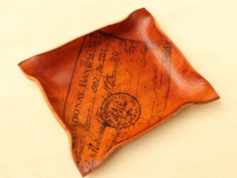 アンティークチックなレザートレイS 手染め革 stampの画像