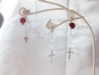 薔薇と十字架のイヤーカフ&ピアスのセットの画像