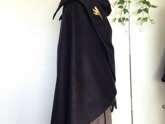 日本製ウール100%*リバー仕立てマント(ネイビー)の画像