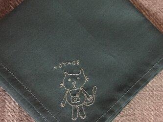 ハンカチ 猫の手刺しゅう(VOYAGE)の画像