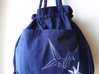 手織り久留米絣:大小の折鶴の巾着バッグ(B-14)の画像