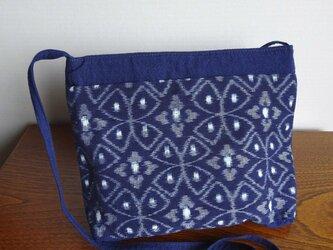 手織り久留米絣:七宝つなぎと花菱のショルダーバッグ(B-23)の画像
