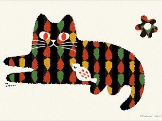 ポストカード トラ猫と鳥12枚セットの画像