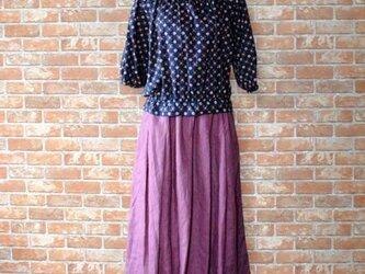 秋色リネン タックギャザースカート 着丈約73cmの画像