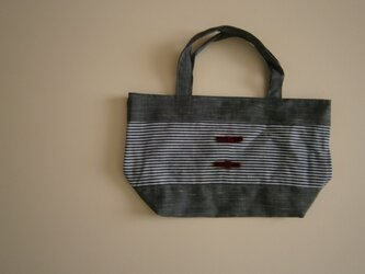 デニムボーダー リボンのバッグ♪の画像